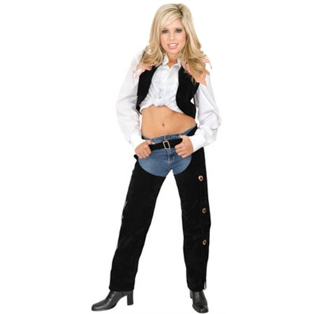 Womens  Range Rider Cowgirl Black Faux Suede Chaps and Vest Set ()