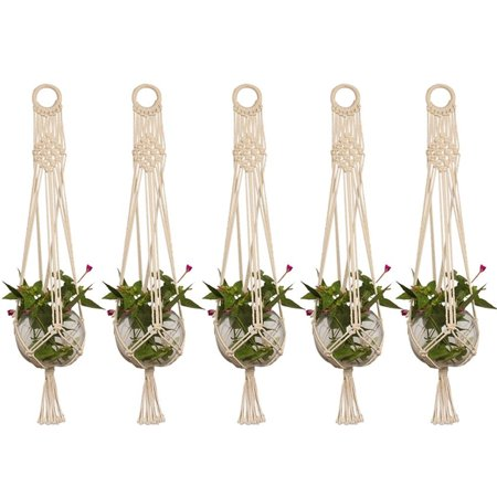 5 Pack Pot Holder Macrame Plant Hanger Planter Hanging Basket Jute