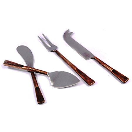 - Gourmet Cheese Board Cutlery Set - Board Knife Shaver Spreader Fork Copper Antique Celia Design Cheese Accessories 4 Pcs. Set