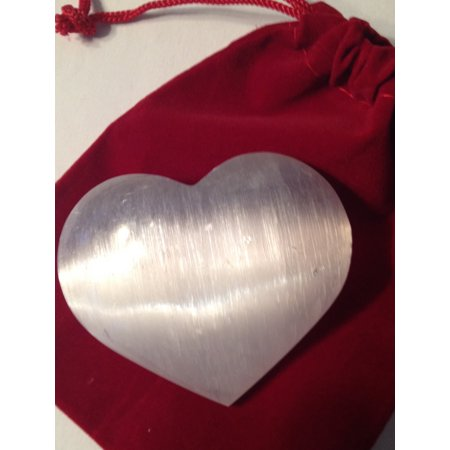 GEMS ROCK Selenite Crystal Heart - gift packed in red velvet pouch - Gemstone Heart Pendant Bead