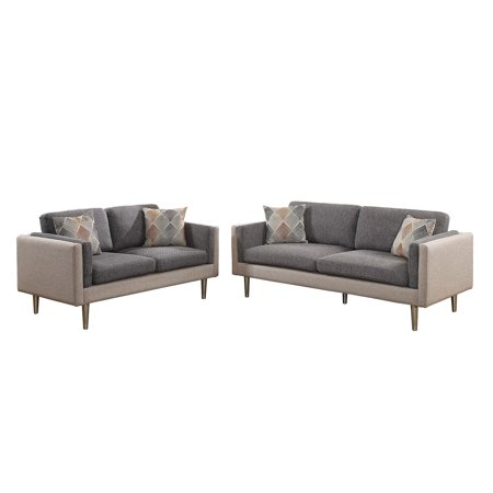 Cotton Loveseat - Bobkona Alwin Cotton Blended Polyfabric 2-Piece Sofa and Loveseat Set Two Tone in Ash Black and Sand.