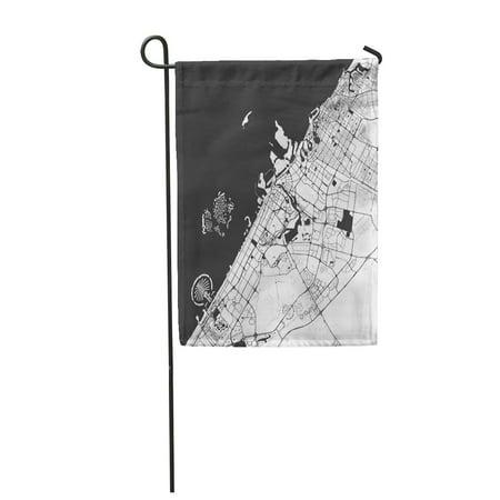 SIDONKU Dubai Monochrome Map Artprint Outline Ready for Color Change Garden Flag Decorative Flag House Banner 12x18 inch ()