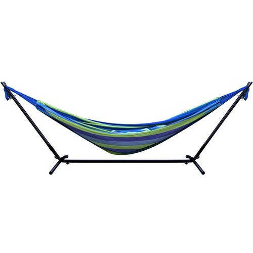 Sorbus Double Hammock with Steel Stand Two Person Adjustable Hammock Bed, Storage Carrying Case Included (Desert Brown/Blue)