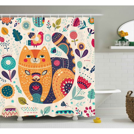 Paisley Shower Curtain, Little Smiling Chubby Cheek Cat Animal with Various Oriental Leaf Flower Artwork, Fabric Bathroom Set with Hooks, Multicolor, by Ambesonne