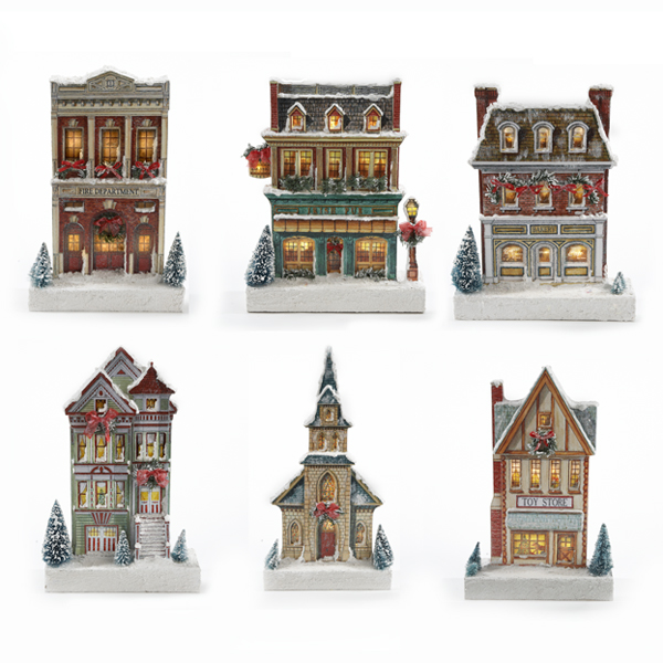 6 Assorted Kringle Lane Village LED Buildings 11.8-14.6""