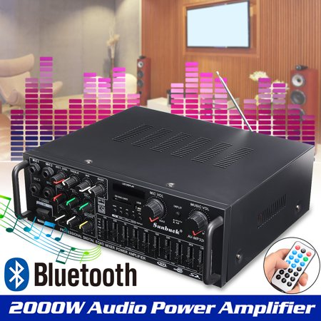 Home Theater Amplifier, 1200W 110V Digital Amplifier HIFI Bluetooth Stereo 2Channel Receiver MP3/USB/SD/AUX/AV/FM Radio with Remote control