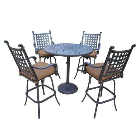 5 Piece Aged Black Finish Aluminum Outdoor Furniture Patio Bar Set Tan Cushions