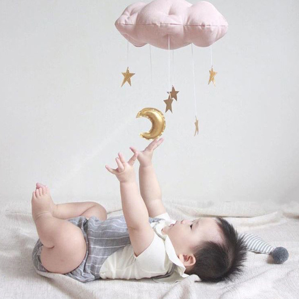 Heepo Hanging Decoration Cloud Cushion Moon Star Soft Children Toy for Kid's Room