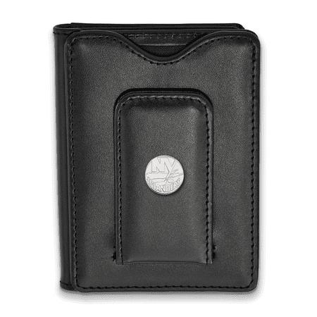 Lex & Lu LogoArt Sterling Silver NHL New York Islanders Black Leather Money Clip Wal