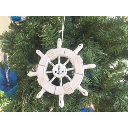 rustic white decorative ship wheel with anchor christmas tree ornament 6 christmas tree decoration - Nautical Christmas Decorations
