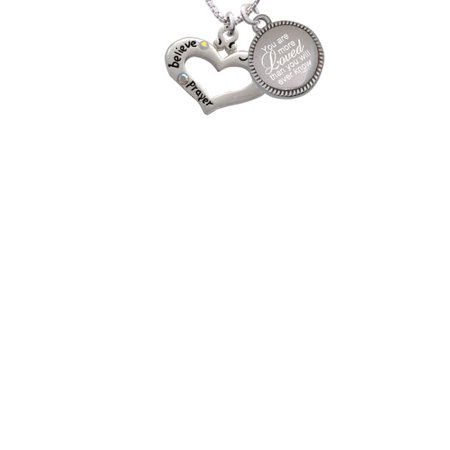 Silvertone Heart with 3 AB Crystals - Believe Faith Prayer You Are More Loved Than You Will Ever Know Engraved Necklace