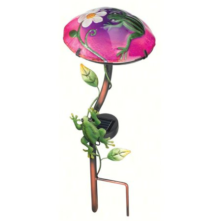 Regal Art and Gift Solar Mushroom Stake with Frog