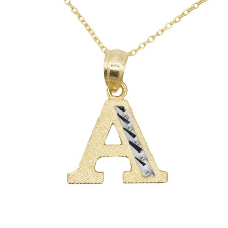 10k Yellow Gold Two Tone Letter A Initial with Diamond Cut Finish Pendant Necklace (No Chain)