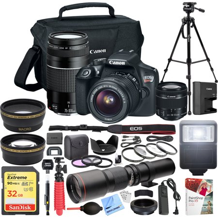 - Canon EOS Rebel T6 DSLR Camera with EF-S 18-55mm f/3.5-5.6 IS II + EF 75-300mm f/4-5.6 III Dual Lens Kit + 500mm Preset f/8 Telephoto Lens + 0.43x Wide Angle, 2.2x Pro Bundle