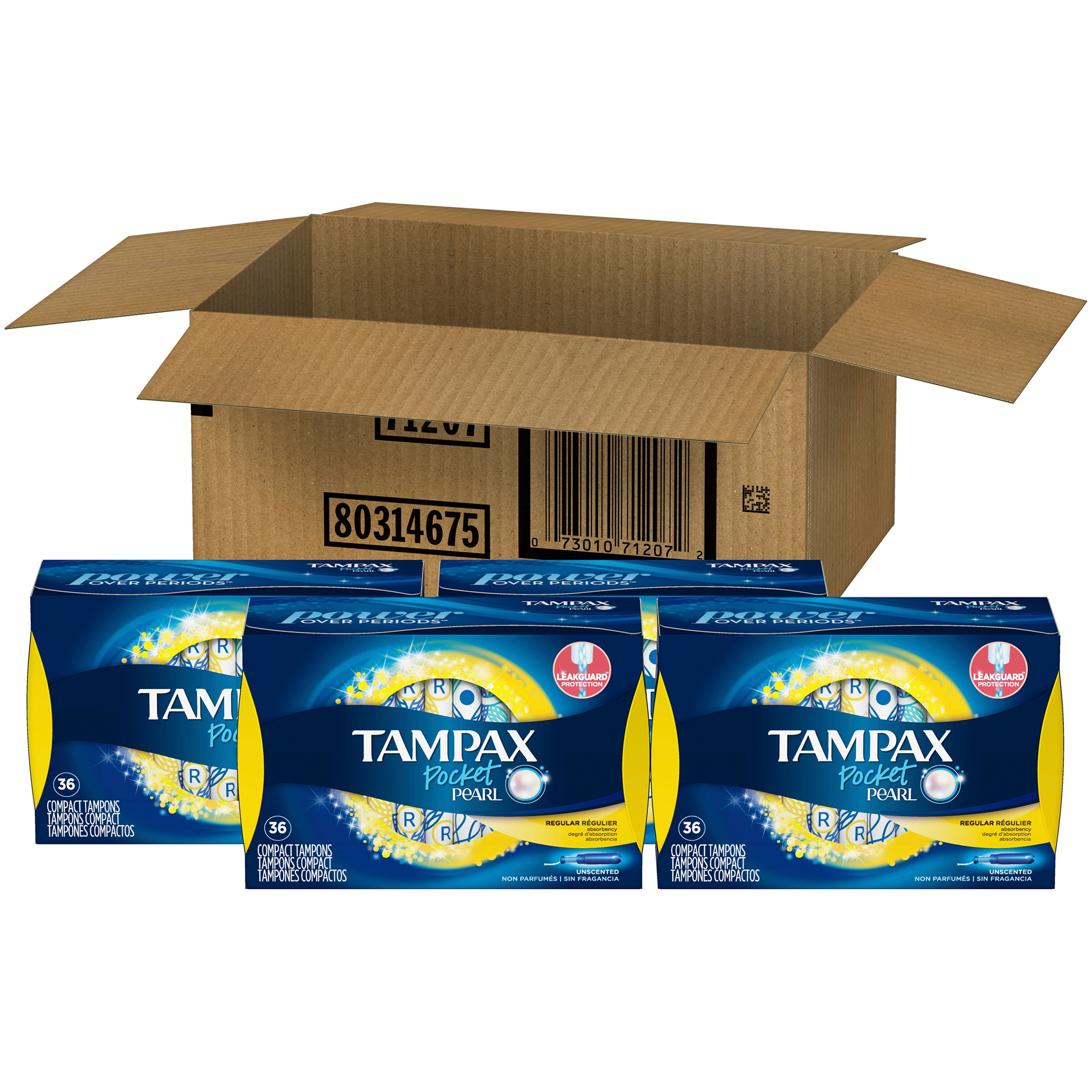 Tampax Pocket Pearl Plastic Tampons, Regular Absorbency, Unscented, 144 Ct