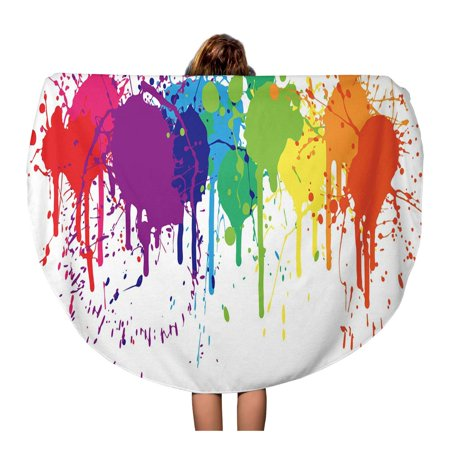 POGLIP 60 inch Round Beach Towel Blanket Blue Drip Bright Rainbow of Dripping Paint Splatters Colorful Travel Circle Circular Towels Mat Tapestry Beach Throw - image 1 of 2