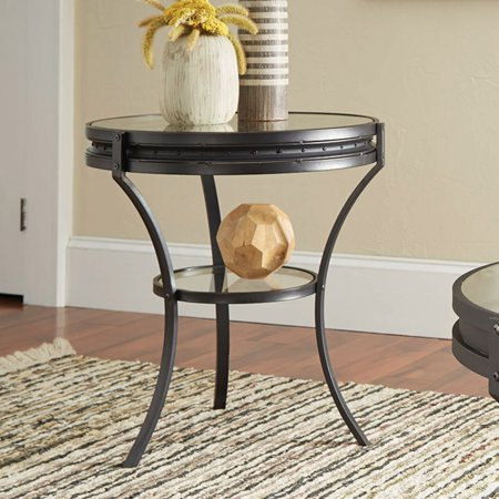 Coaster 1 Shelf Round Glass Top End Table in Sandy Black ()