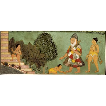 Palace Scene Three Youngs Before Imperial Authority Indo-Mongol Art 1760 Miniature Painting  AisaEverett Collection Poster Print