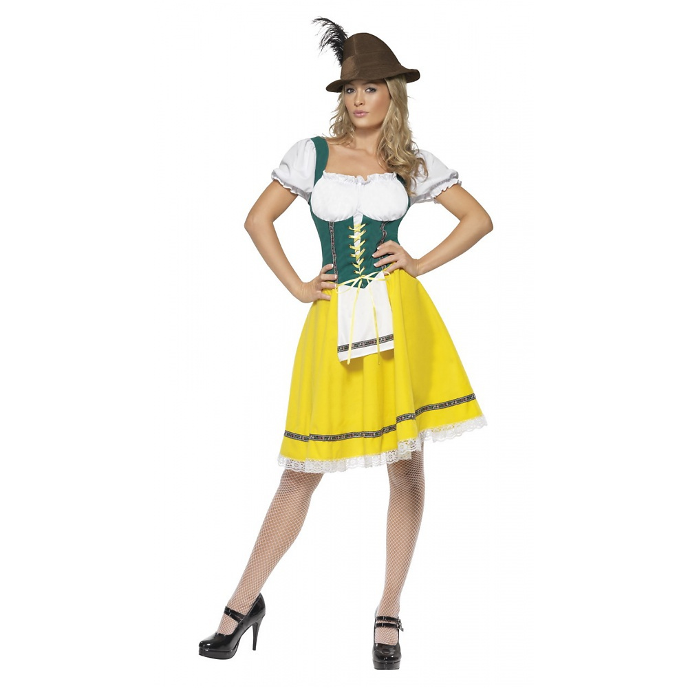 Bavarian Wench Adult Costume Brown and Red - Medium