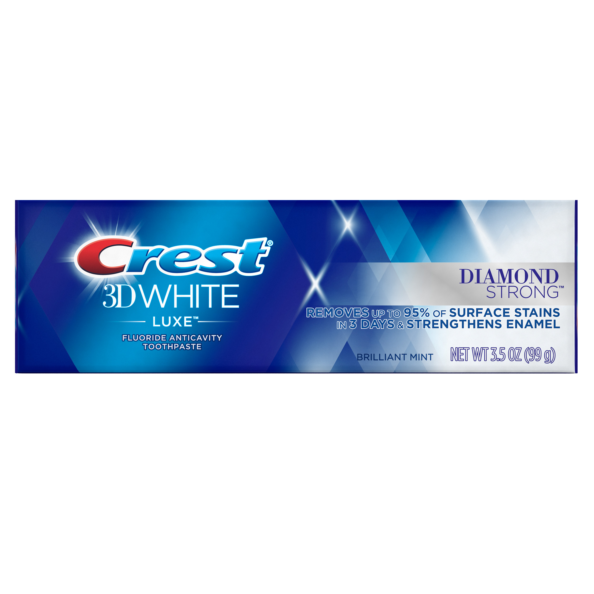Crest 3D White Luxe Diamond Strong Whitening Toothpaste, Brilliant Mint (Choose Size)