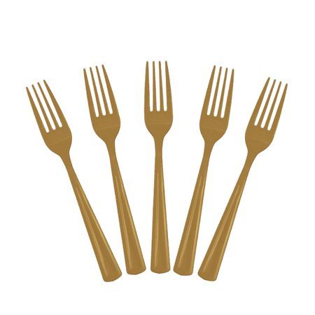 Exquisite Disposable Plastic Forks - 100 Count - Party Deluxe, Heavyweight Plastic Cutlery - Gold Disposable Plastic Party Cutlery