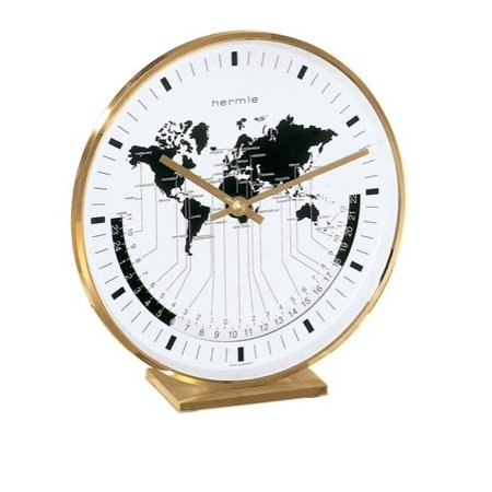 Hermle Buffalo I Brass Casing World Time Tabletop -