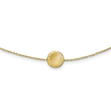 14k Yellow Gold 18in Brushed Polished & Diamond Cut Circle