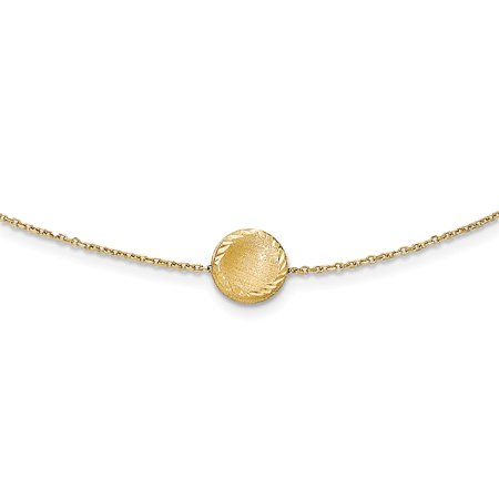 14k Yellow Gold 18in Brushed Polished & Diamond Cut Circle Necklace 14k Gold 18in Necklace