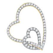 10kt Yellow Two-tone Gold Womens Round Diamond Double Linked Heart Pendant 1 3 Cttw