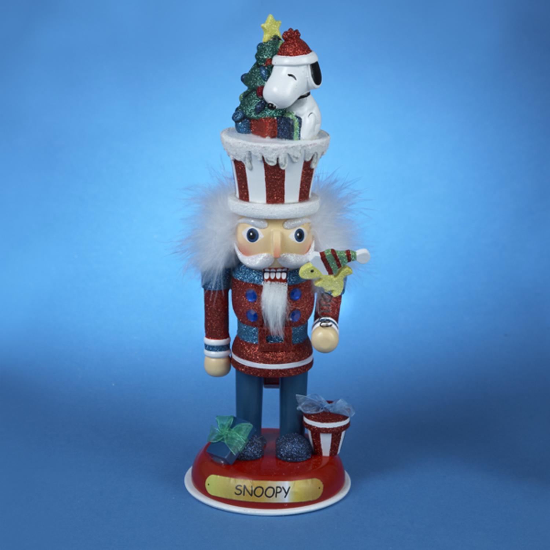 "11.5"" Peanuts Snoopy Hollywood Decorative Glitter Christmas Nutcracker"