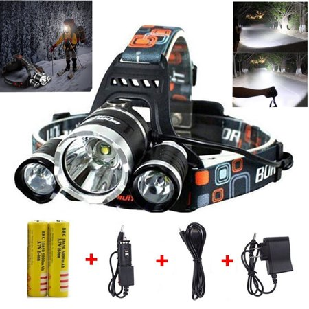 Best LED Headlamp Flashlight 10000 Lumen - IMPROVED LED with Rechargeable 18650 Battery, Bright Head Lights,Waterproof Hard Hat Light,Fishing Head Lamp,Hunting headlamp,Running or Camping headlamps