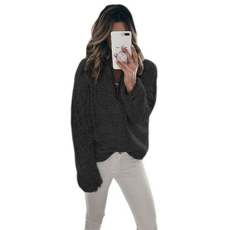 Faux Fur Coat Women Winter Warm Sweater Jackets Outwear Fluffy Pullover Long Sleeve Jumper Stand Neck Zip Up
