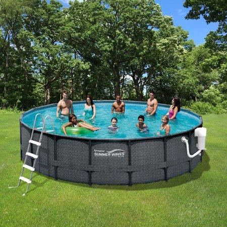 Summer Waves Elite Dark Wicker Metal Frame Pool Package