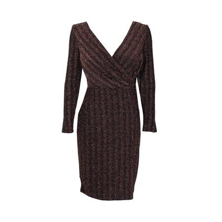 Sangria Petite Black Rose Gold Metallic Faux-Wrap Buckle Sheath Dress 4P](Rose Sangria)