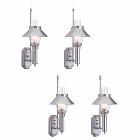 4 Silvertone Wall Lamps Solid Brass Set of 4 | Renovators Supply 4 Decorative Brass House