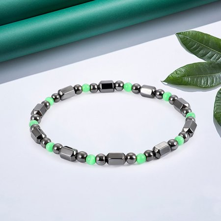 1 PCS Weight Loss Healthcare Round Black Stone Magnetic Therapy Hand Chain Body Care Hematite Stretch Bracelet Magnet Jewelry For Men Women