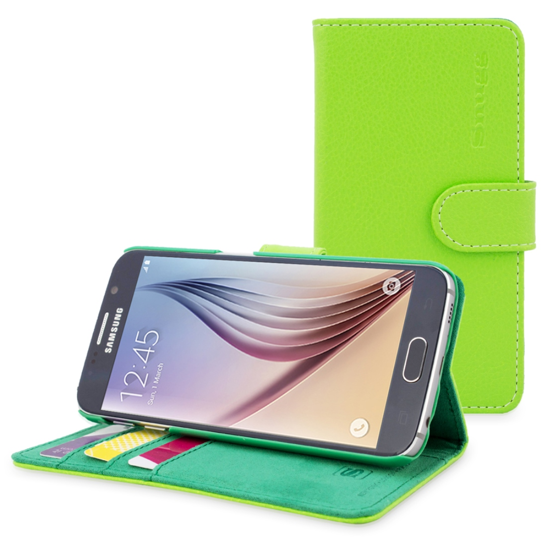 Snugg Black Leather Galaxy Tab 3 8 Case Cover & Flip Stand