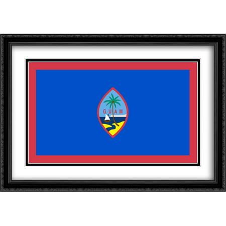 Guam 2X Matted 40X28 Large Black Ornate Framed Art Print By The Flag Art Print Series
