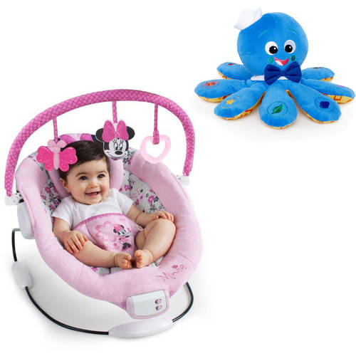 Disney Baby Minnie Mouse Garden Delights Bouncer with BONUS Octoplush Toy