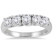 Marquee Jewels  14k White Gold 1ct TDW 5-stone Diamond Wedding Band