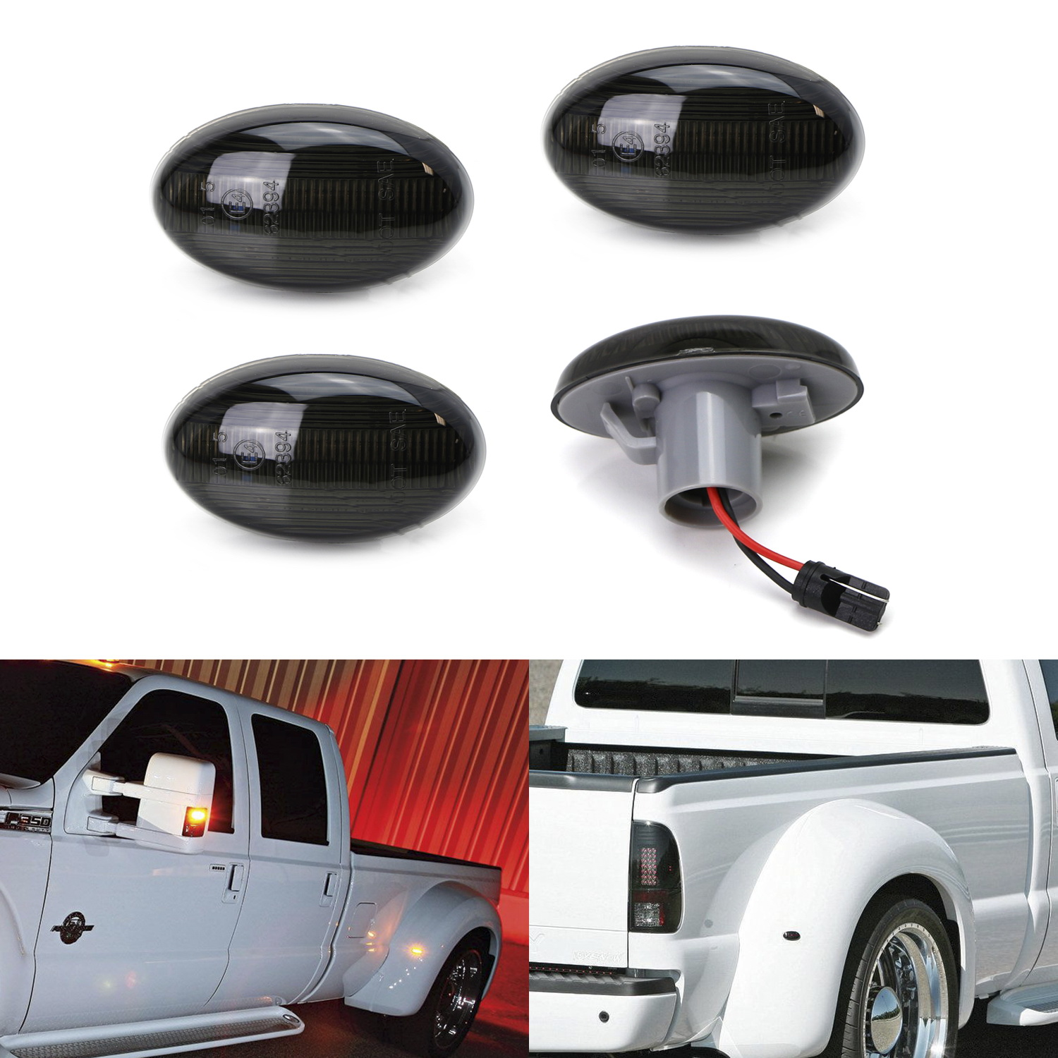 iJDMTOY (4) Smoked Lens Front & Rear LED Fender Side Marker Lights w/ 48-SMD LED Diodes For 1999-2010 Ford F-350 F-450 Super Duty Double Wheel
