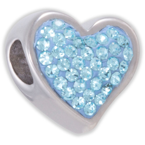 Connections from Hallmark Light Blue Crystal Stainless Steel Heart Bead