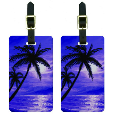- Palm Trees And Sunset Purple Beach Tropical Ocean Luggage Tags ID, Set of 2