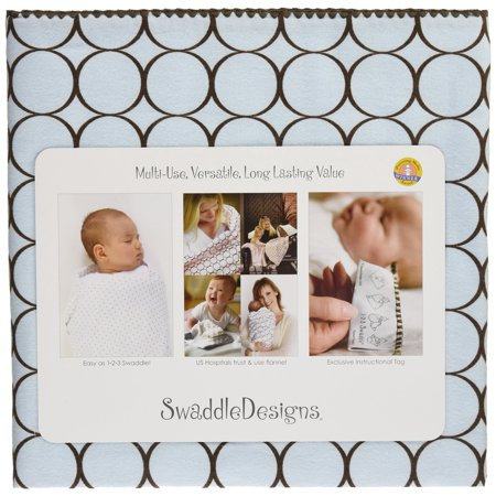 Swaddledesigns Ultimate Swaddle Blanket, Made In Usa, Premium Cotton Flannel, Brown Mod Circles On Pastel Blue - image 2 of 3