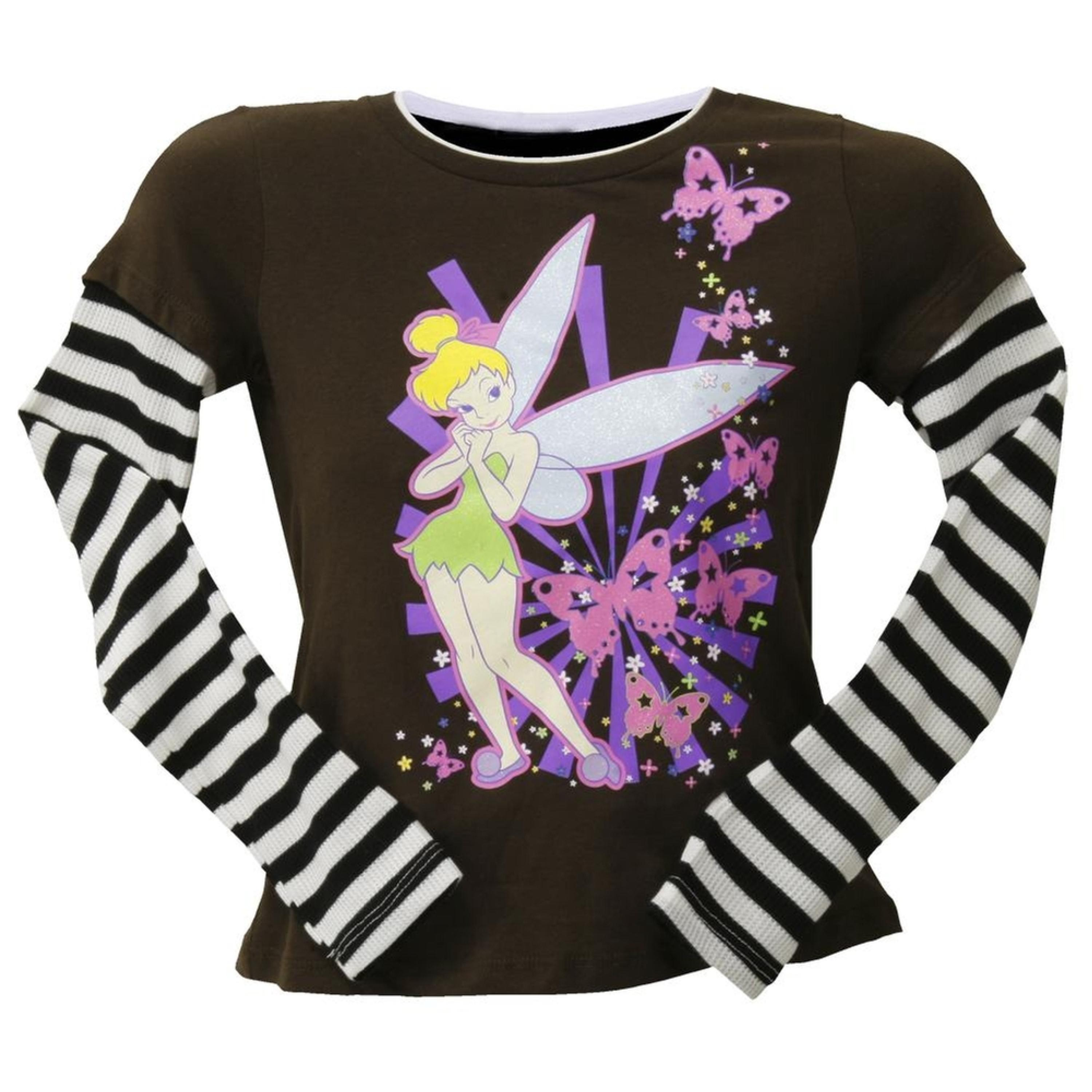 Tinkerbell - Butterfly Girls Youth 2fer Long Sleeve T-Shirt