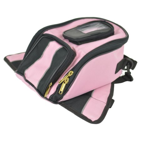 Two Tone Pink Magnetic Tank Bag with Reflective Piping by Vance Leather's (Ross Pipe Bags)
