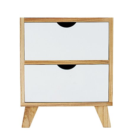 "DL furniture-White / Ash Oak Finish Side End Table Nighstand with Two Drawer 17""H - Mid-Century Style"