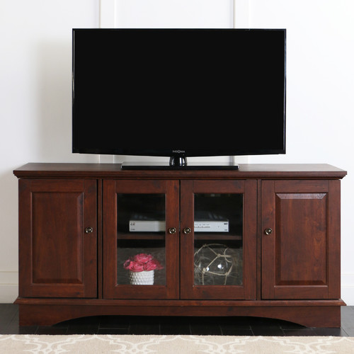 """52"""" Brown Wood TV Stand Media Console for TV's up to 55"""""""