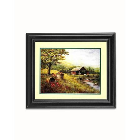 Mountain Farm Apples Barn Child Eating Apples Black Framed 8x10 Art - Black Oxford Apples