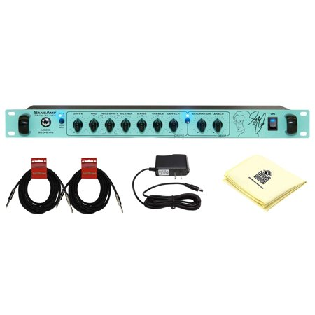 Tech 21 GED-2112 Geddy Lee Signature SansAmp Rackmount Bass Preamplifier with Dual Analog SansAmp Circuits and Effects Loop with 2 Instrument Cable and Polishing